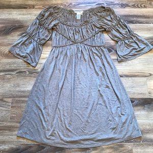 NWOT Max Studio Beige Peasant Dress M